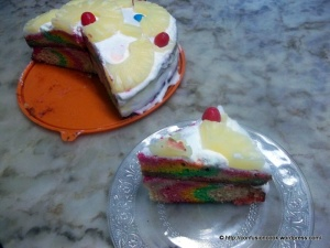 Eggless Rainbow Cake - ready to eat