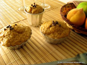 Eggless Peach & Banana Muffins