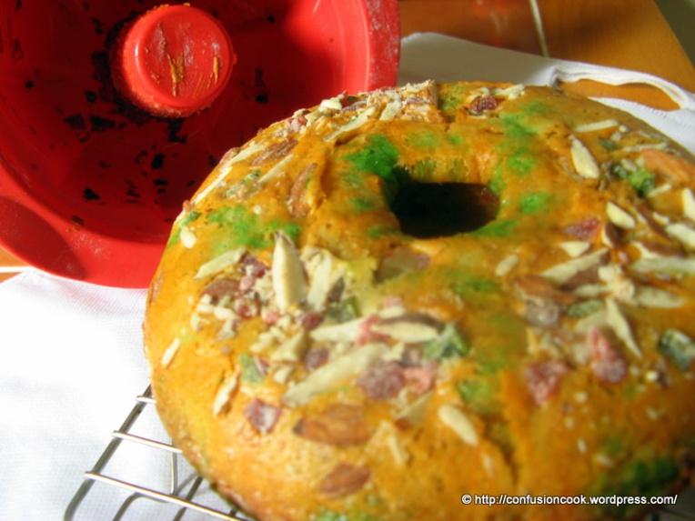 Eggless Tutti-Fruity Cake in Tri-color