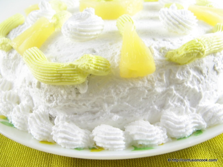 Eggless Pineapple Gateau