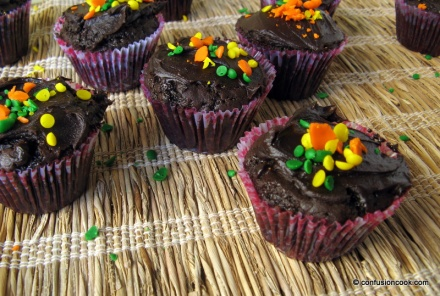 Chocolate Cupcakes with Ganache & Rainbow Sprinkles