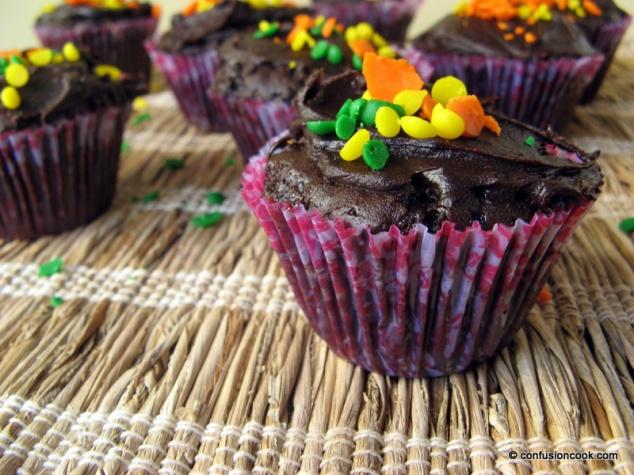 Chocolate Cupcakes with Ganache & Rainbow Sprinkles