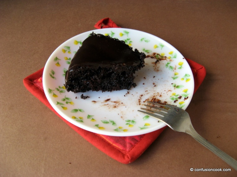 Eggless Sachertorte with molded chocolate in tools shape